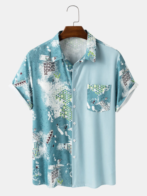 Mens Patchwork & Print Designer Breathable Light Short Sleeve Shirts