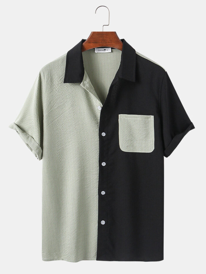 Mens Patchwork & Stripes Print Casual Light Chest Pocket Shirts
