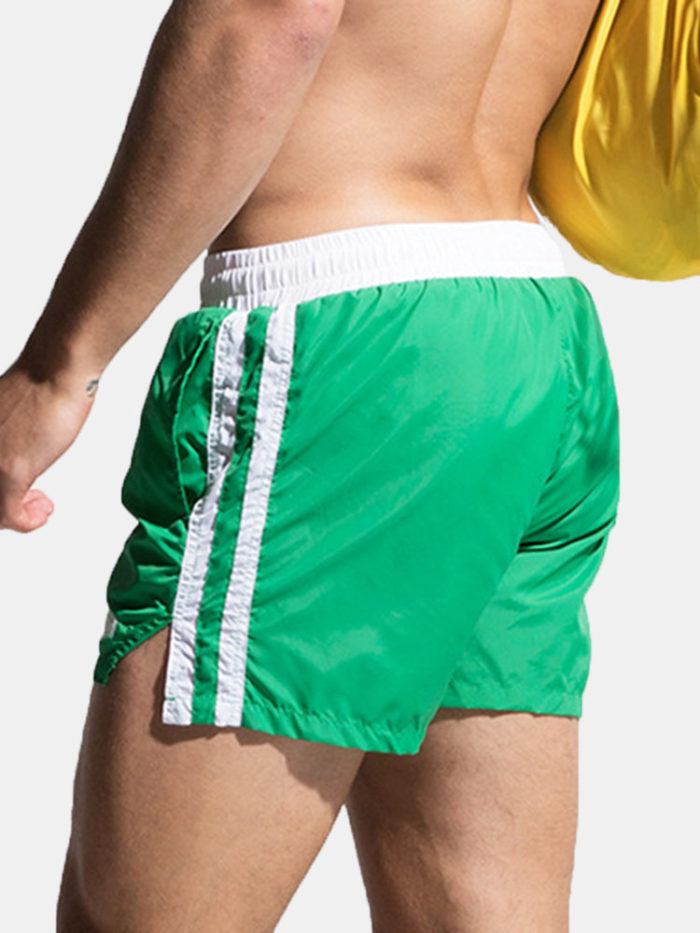 Mens Quick Drying Thin Striped Water Repellent Swim Short Beach Short With Lining Pocket