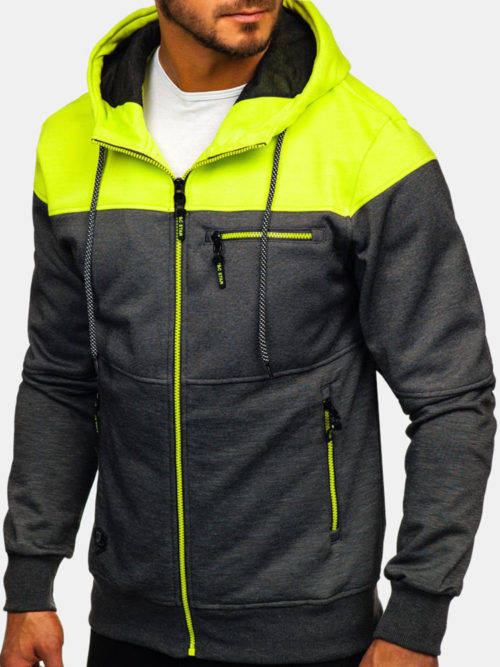 Men's Sports Fitness Casual Patchwork Hit Color Zipper Hooded Sweatshirt
