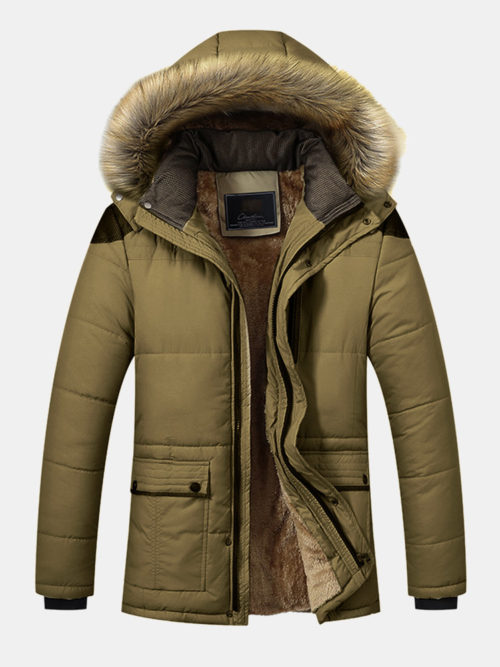 Mens Winter Mid Length Thicken Fleece Jacket Casual Parka With Fur Hood Long Sleeve Coat