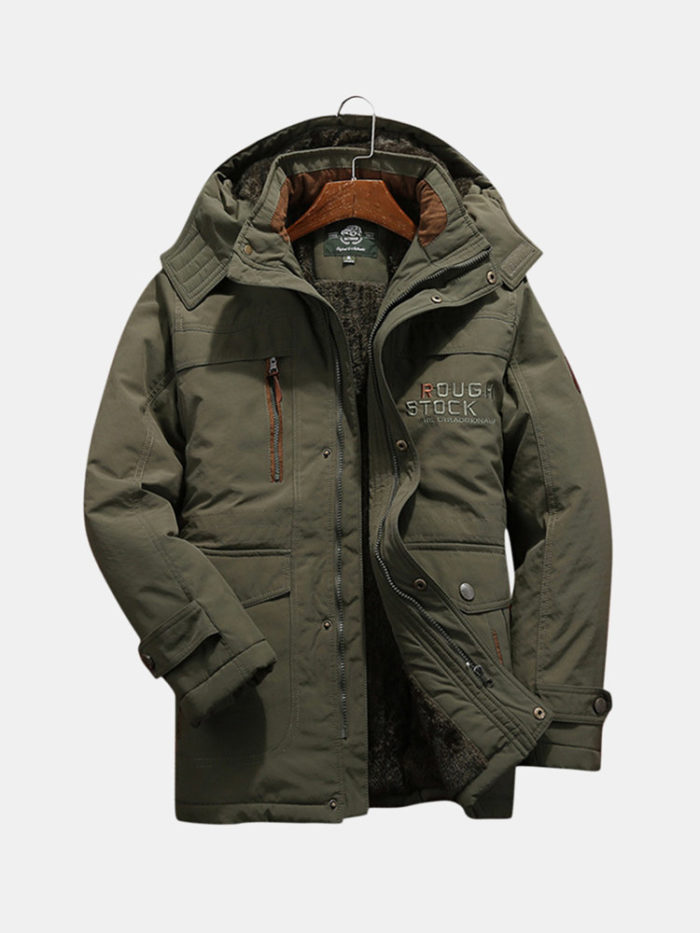 Mens Winter Windproof Multi Pockets Zipper Thicken Loose Comfy Warm Jacket