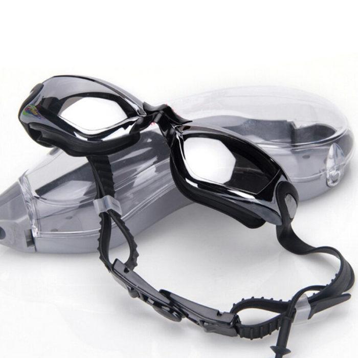 Mens Womens Swimming Glasses Transparent Waterproof Anti-fog Earplugs Swimming Glasses