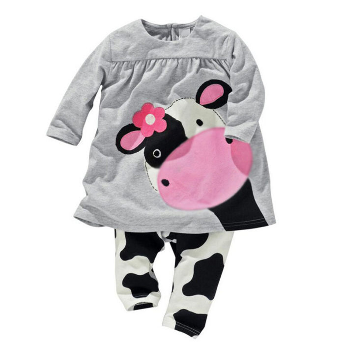 Milk Cow Pattern Print Girls Long Sleeve Clothing Set For 0-24 Months