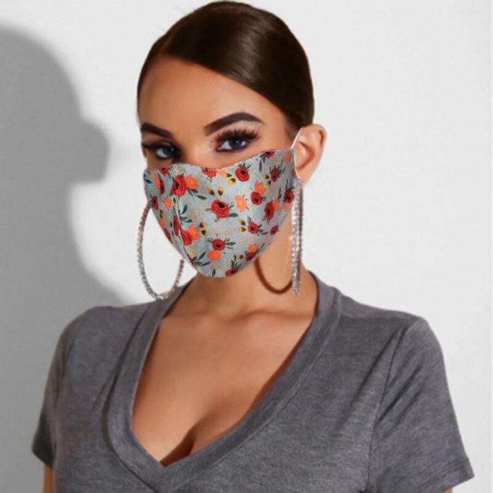 Multicolor Cotton Floral Mask Vintage Print Face Mask
