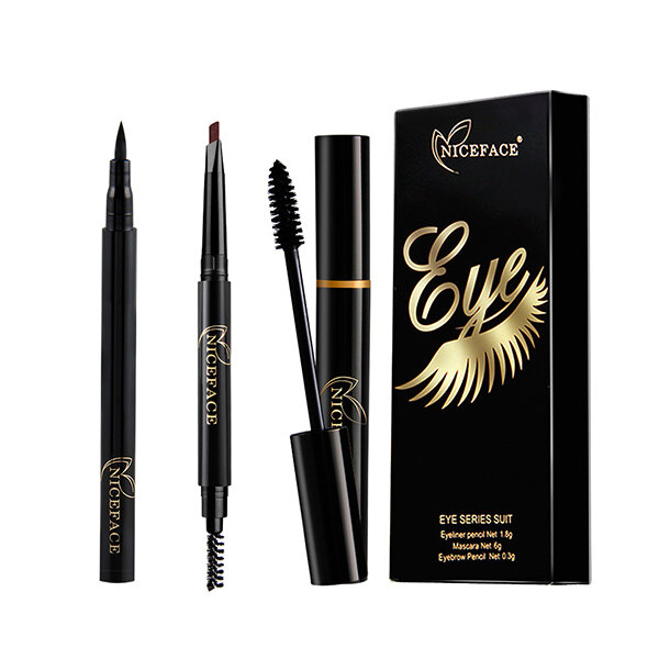 NICEFACE Eyes Makeup Set Liquid Eyelashes Mascara Double Head Eyebrow Pencil Smooth Eye Liner Pen Co