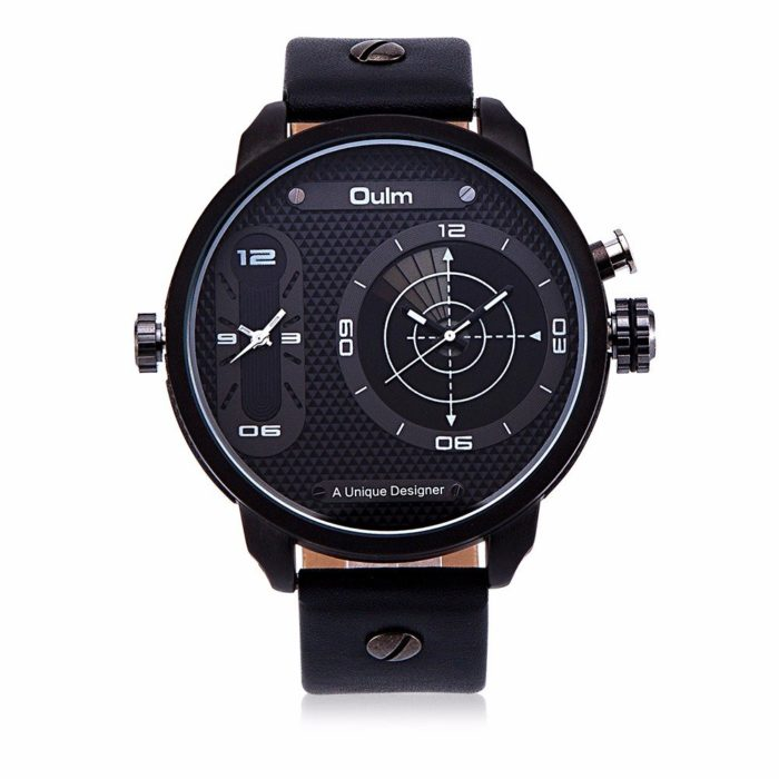 OULM Men Watch Alloy Leather Two Movement Sport Men Watch