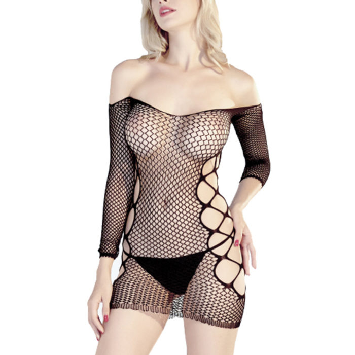 Off-Shoulder See Through Fishnet Backless Sexy Lingerie