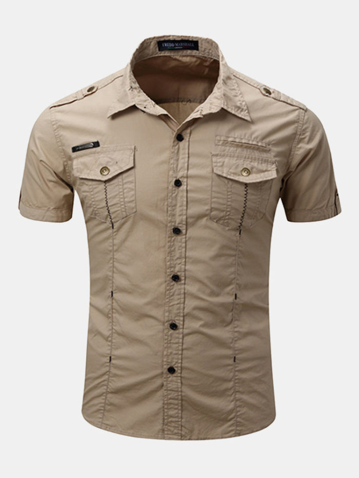 Outdoor Casual Washed Cargo Chest Pockets Band Collar Dress Shirts for Men