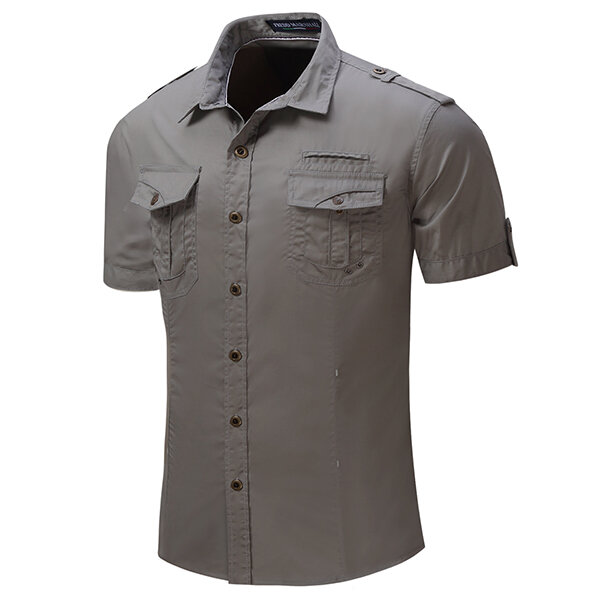 Outdoor Washed Sports Cargo Band Collar Dress Shirts for Men
