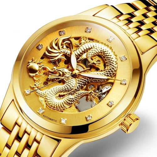 POLOBOSS Mens Dragon Mechanical Watches Engraved Skeleton Dragon Stainless Steel Automatic Watches