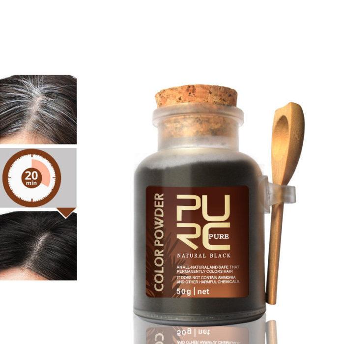 PURC Hair Color Powder Black Organic Herbal Hair Dye Coloring Permanently 50ML