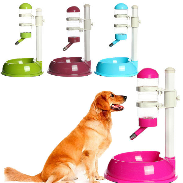 Pet Dish Water Drinker Dispenser Food Feeder Stand Bowl Bottle Plastic Dog Cat Lick