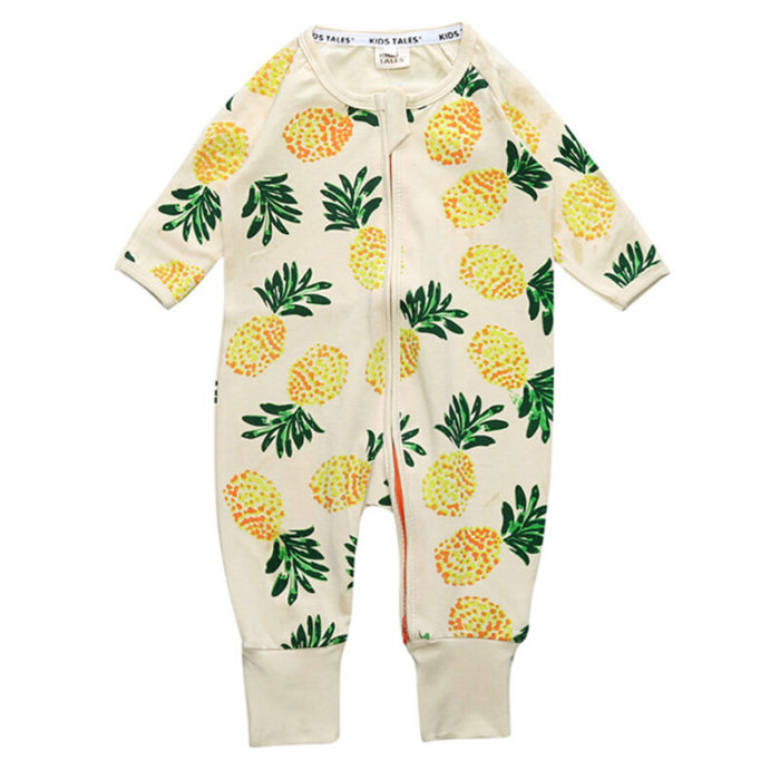 Pineapple Newborn Baby Long Sleeve Romper Jumpsuits For 0-36M