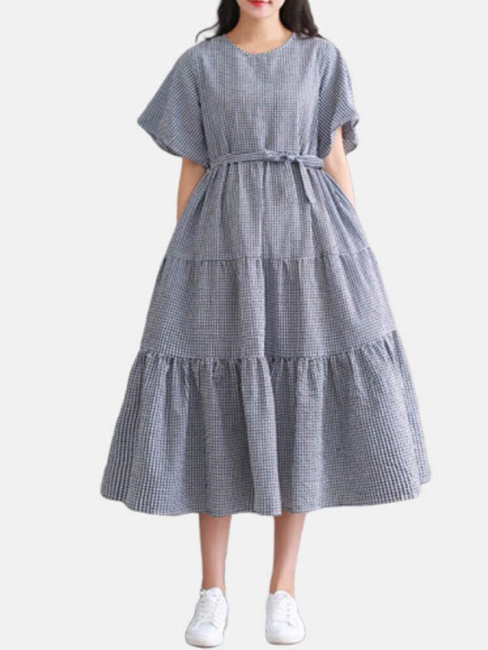 Plaid Crewneck Short Sleeve Plus Size Dress with Belt