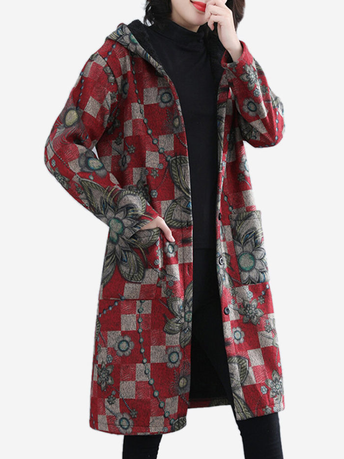 Plaid Floral Print Hooded Thick Long Sleeve Coat