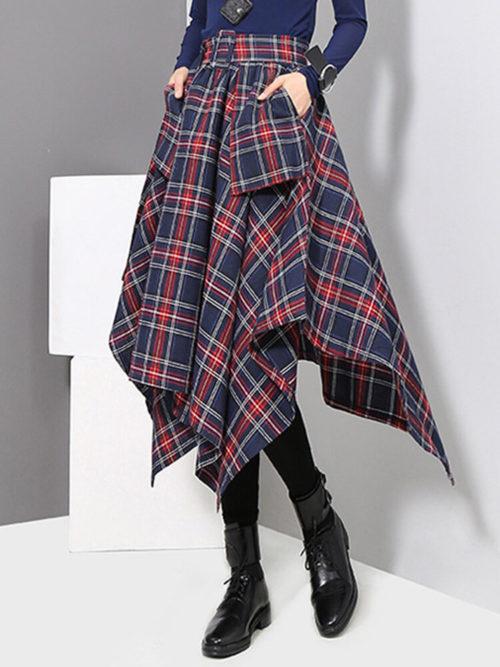 Plaid Print Irregular Casual Skirt For Women