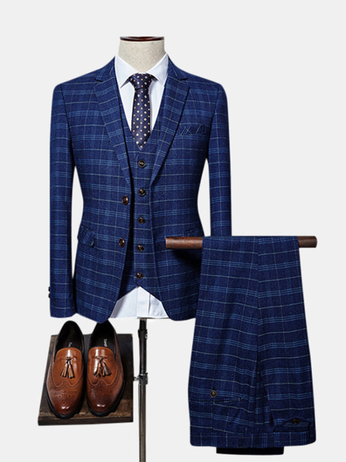 Plaid Slim Three Pieces Slim Stage Show Wedding Formal Suits for Men
