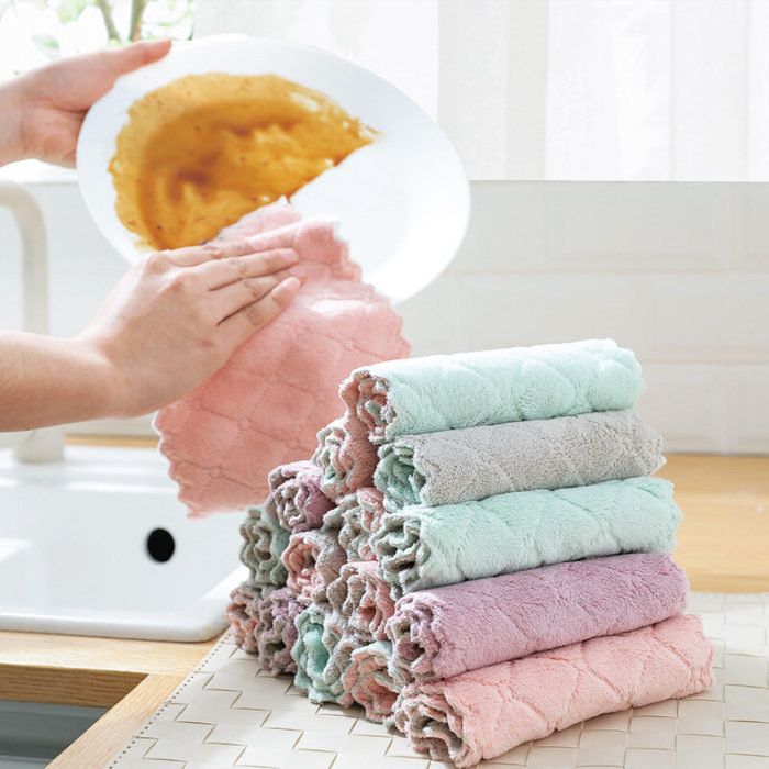Plain Scouring Pad Double-Sided Rag Kitchen Dish Towel Dish Cloth Dish Cloth Housework Cleaning Rag