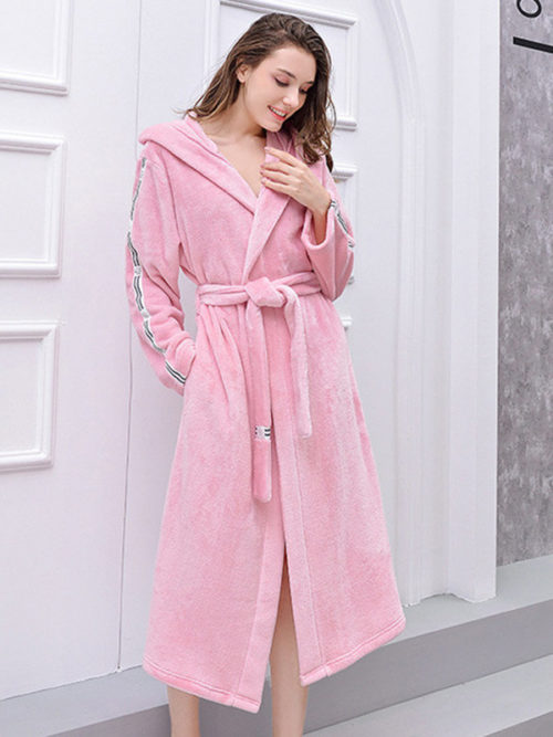 Plus Size Flannels Pink Robe Women Pajamas Hooded Thickened Patchwork Tie Belt Sleepwear