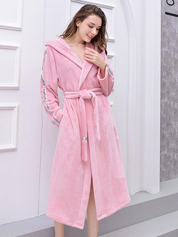 Plus Size Flannels Pink Robe Women Pajamas Hooded Thickened Patchwork Tie Belt Sleepwear