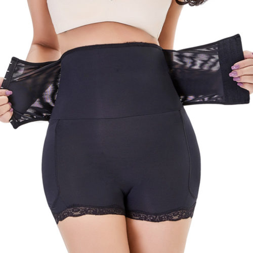 Plus Size High Waisted Front Closure Tummy Control Shorts