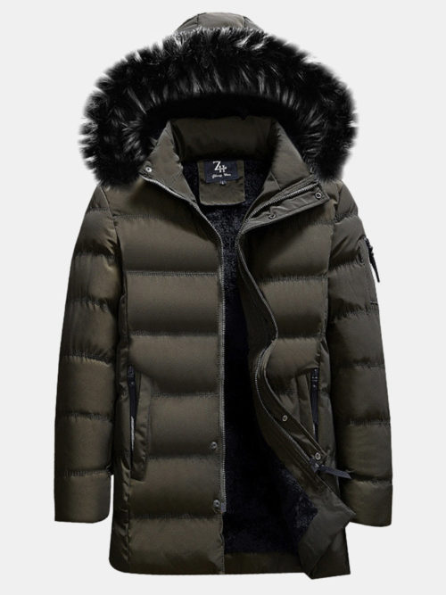 Plus Size Inside Warm Cotton Jacket Furred Hooded Quilted Insulated Coat for Men