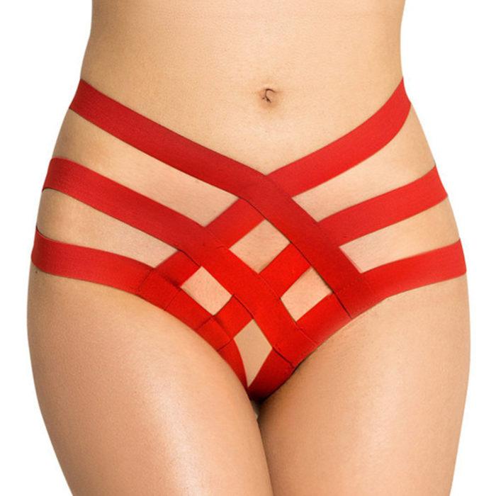 Plus Size Sexy Lingerie Bottom High Waist Criss-Cross Hollow Panties