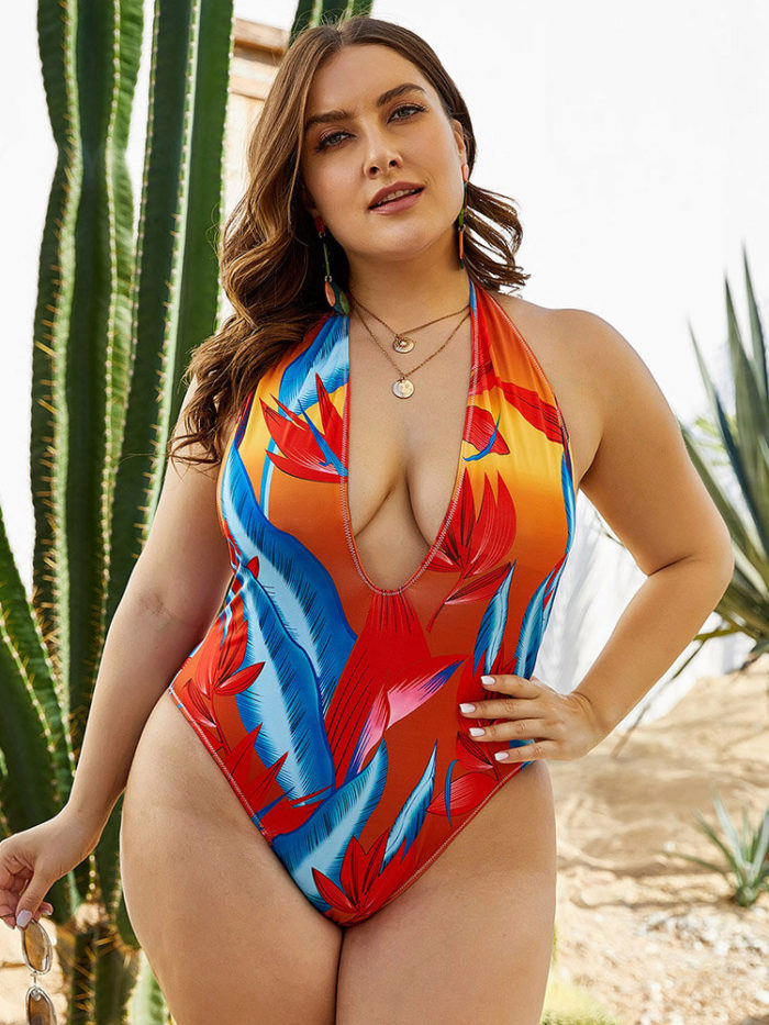 Plus Size Swimsuits Print Halter Plunge Open Back Sexy One Piece