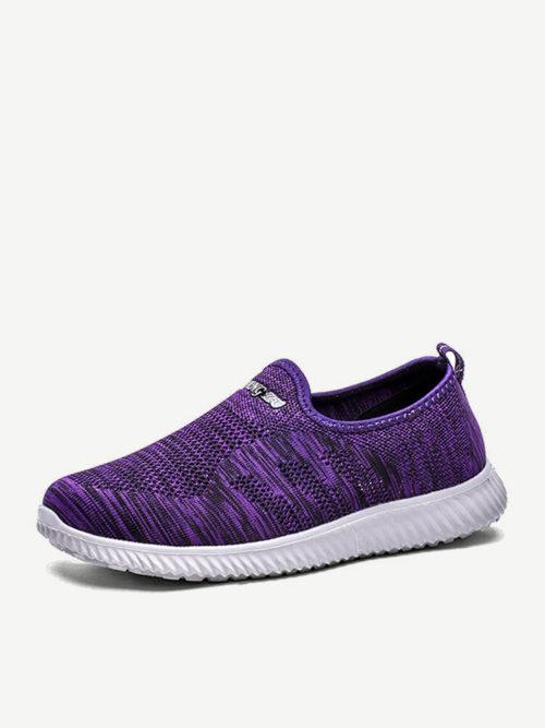 Plus Size Women Athletic Walking Mesh Slip On Flat Sneakers