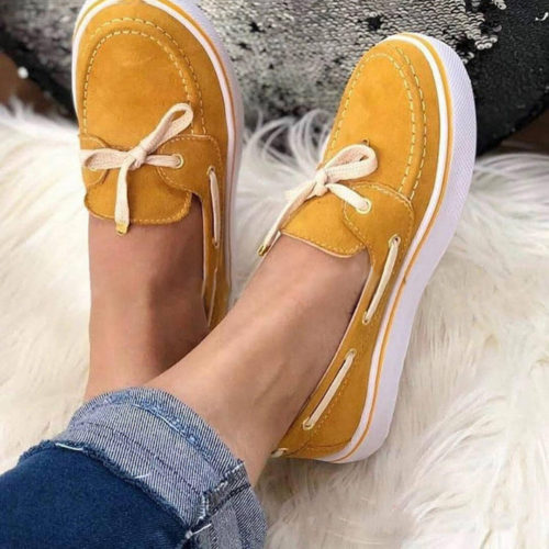 Plus Size Women Casual Butterfly Knot Slip On Flat Loafers
