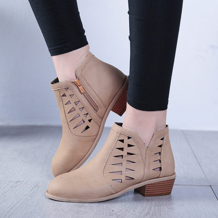 Plus Size Women Footwear Hollow Low Heel Zip Short Ankle Boots