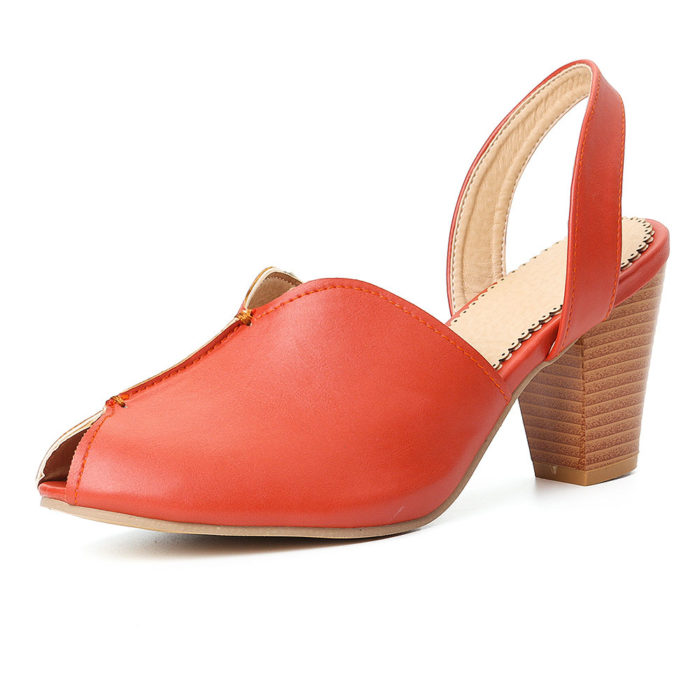 Plus Size Women Peep Toe High Heels Sandals