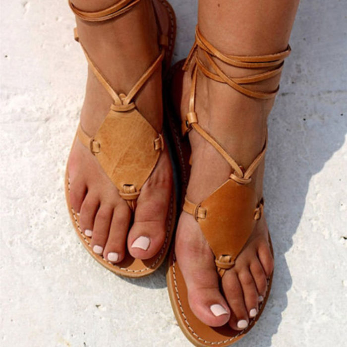 Plus Size Women Rome Style Clip Toe Lace Up Flat Sandals