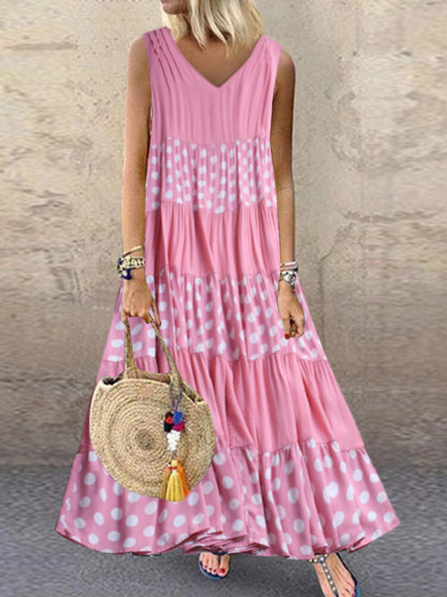 Polka Dot Patchwork V-neck Sleeveless Summer Plus Size Dress