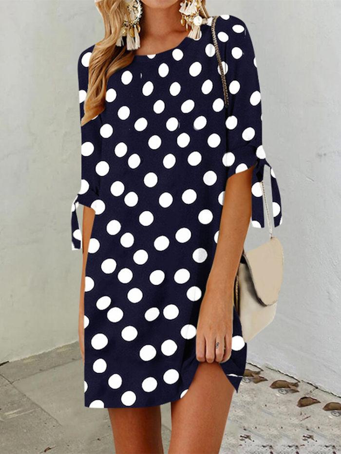 Polka Dot Print Knot Sleeve Plus Size Casual Dress