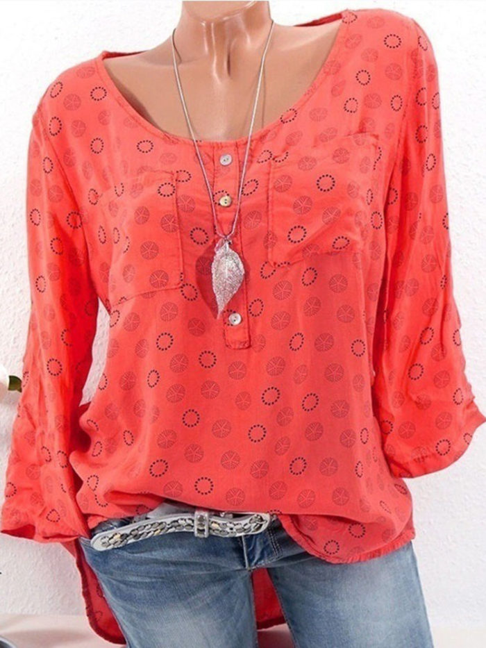 Polka Dot Print Long Sleeve Casual Blouse For Women