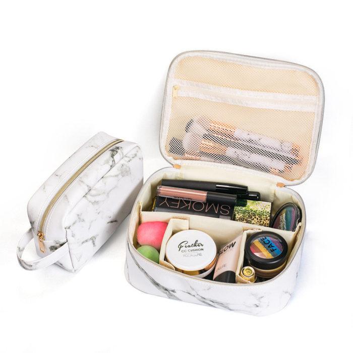 Portable Comestic Bag Marble Makeup Organizer Case Storage Bag Travel Bag Black White Two Size
