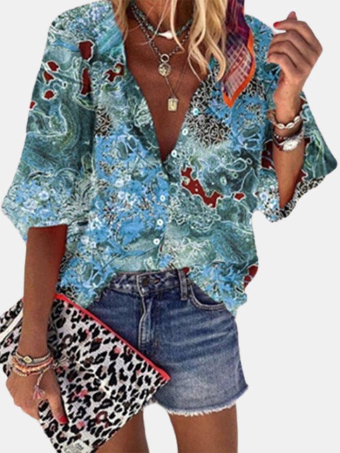 Print 3/4 Sleeve V-neck Vintage Blouse For Women