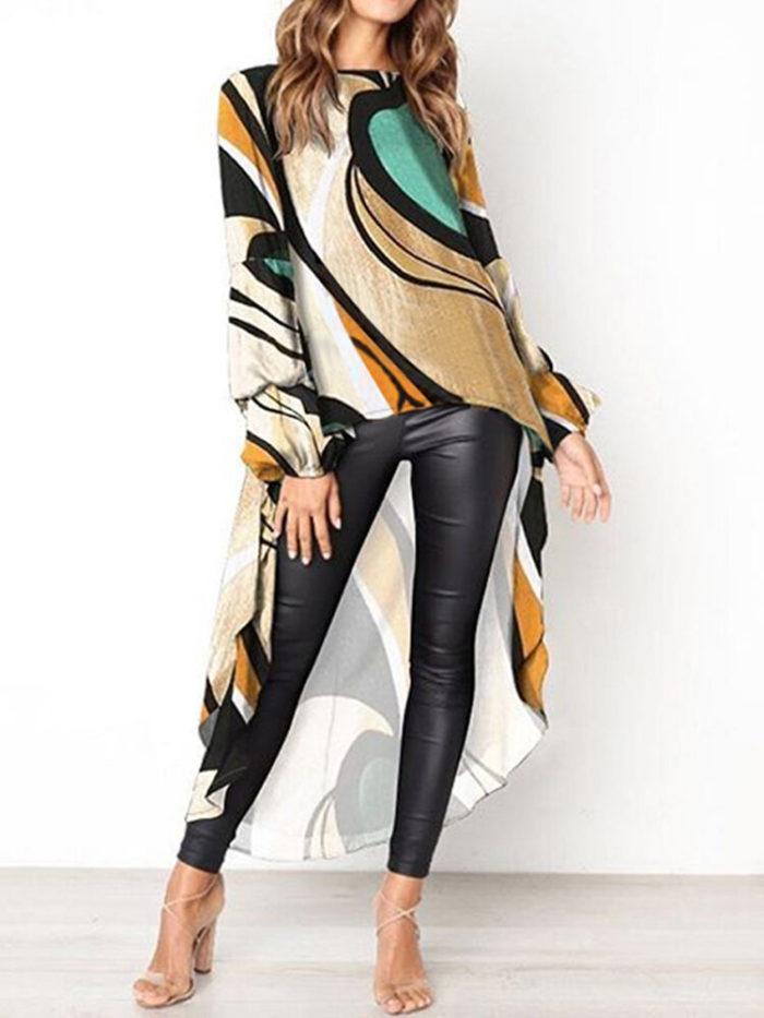 Printed High Low Long Sleeve Plus Size Irregular Blouse