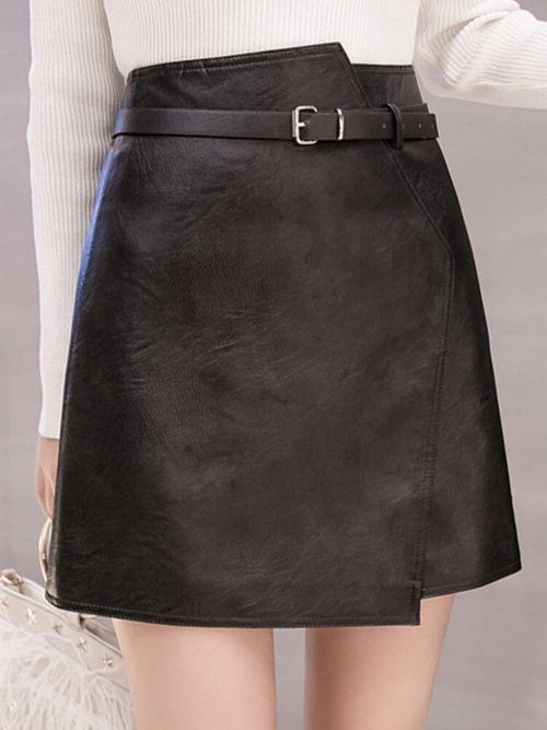 Pu Leather Irregular High Waist Belt Skirt