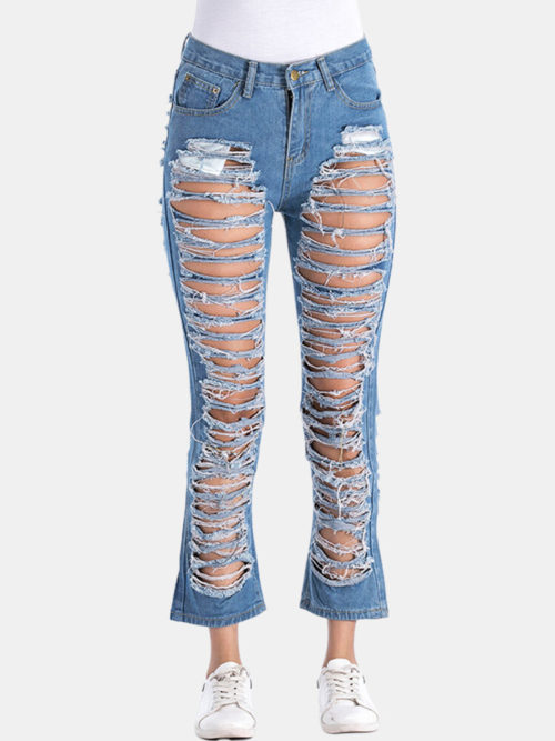 Pure Color Hollow Casual Ripped Jeans