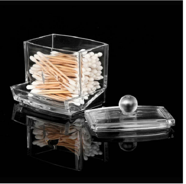 Q-tip Storage Boxes Cotton Swab Holder Clear Acrylic Cosmetic Makeup Case Hotel Supplies