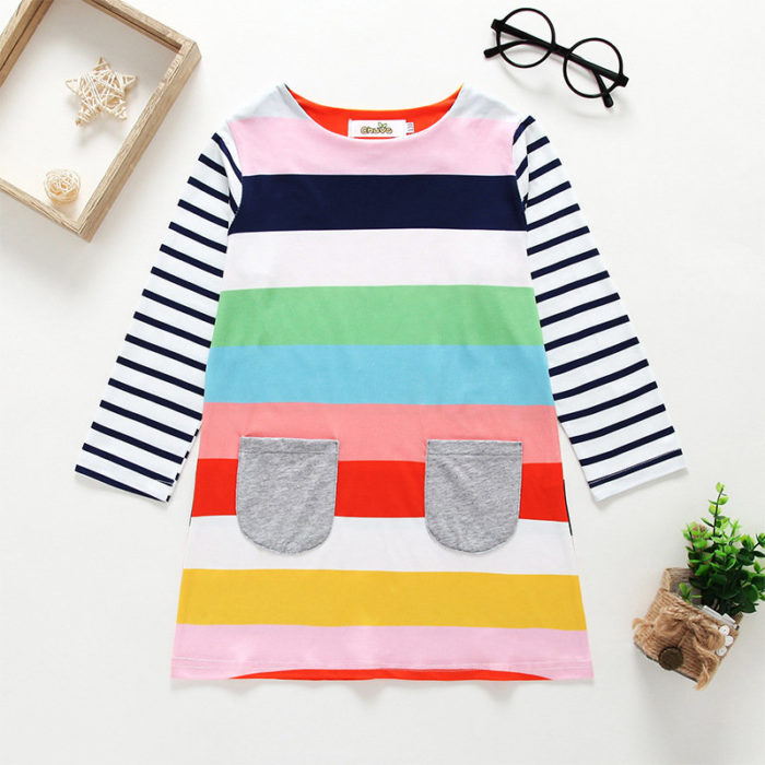 Rainbow Print Girls O-Neck Striped Casual Dress For 2Y-11Y