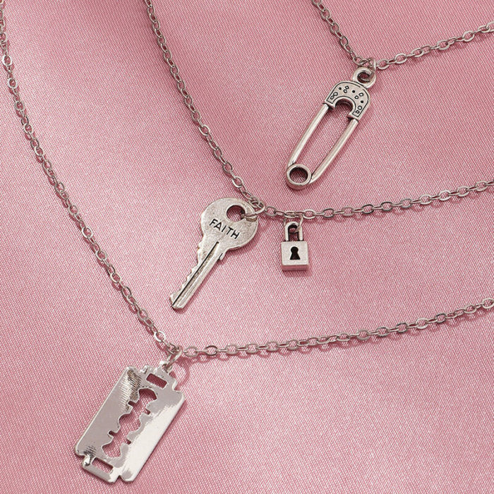 Retro Hip Hop Metal Pin Clavicle Chain Punk Geometric Key Lock Multi-layer Necklace