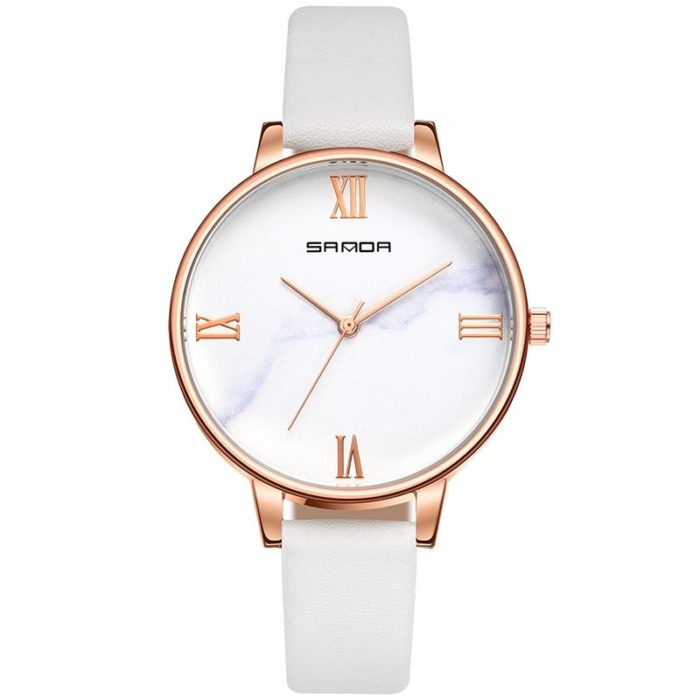 Retro Women's Watch Vintage Leather Band Watches 3D Stereo Dial Quartz Watches