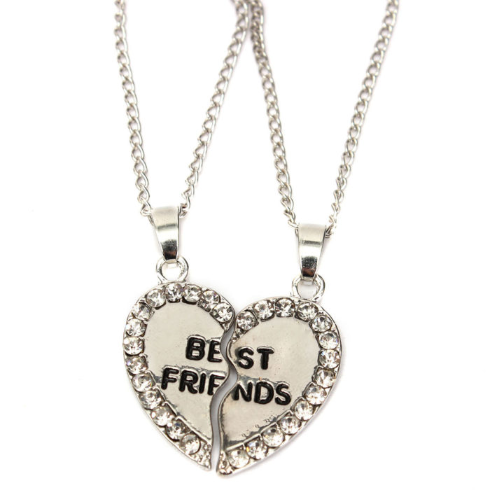 Rhinestone Matching Heart Double Parts Charm Couple Necklaces Friendship Necklaces