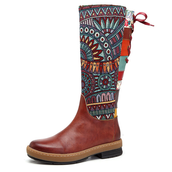 SOCOFY Bohemian Splicing Pattern Flat Leather Rainbow Knee Boots
