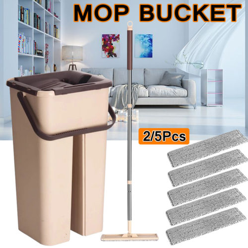 Self Cleaning Drying Wringing Mop Bucket Flat Floor Free Hand Wash Mop Wet Dry