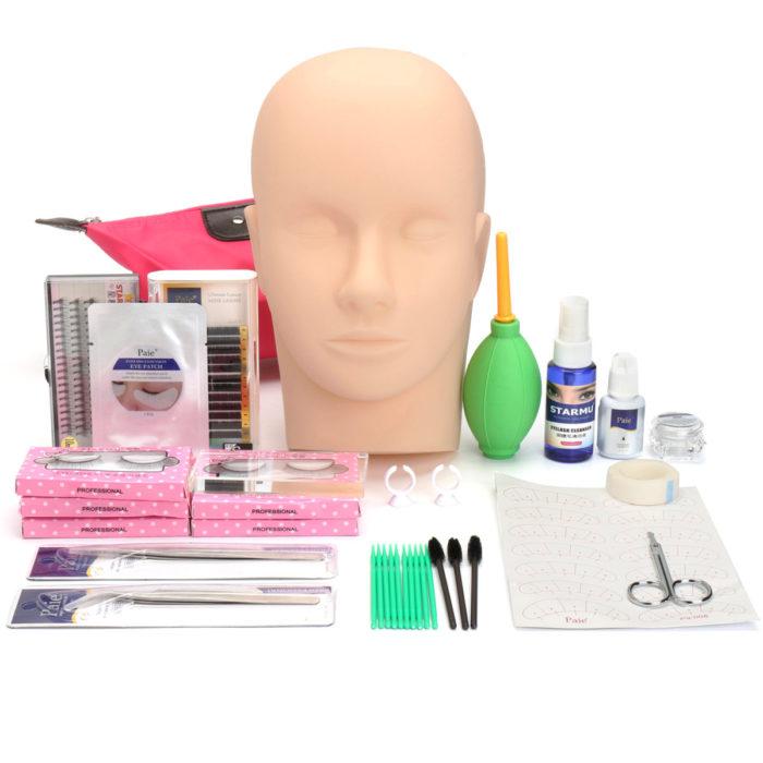 Semi Permanent Eyelash Extensions Set Makeup Individual Curl Glue Tool Kit With Bag